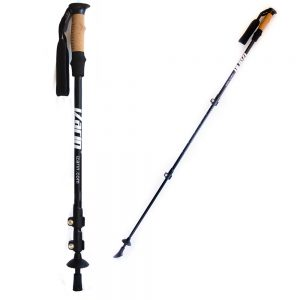Short and extended view of telescopic Nordic walking sticks
