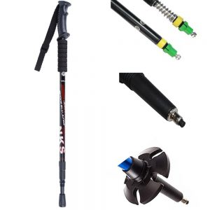 Anti Shock walking pole, tips, mud basket