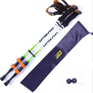 Pair of green hiking poles with carry bag